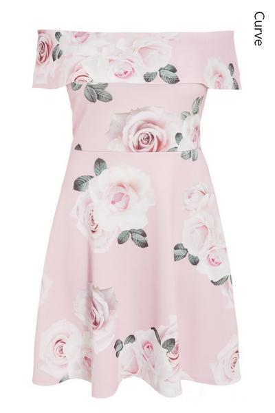 Curve Pink Floral Bardot Dress